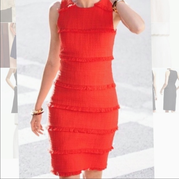 J. Crew Dresses & Skirts - J. Crew Orange Fringe Fitted Midi Dress